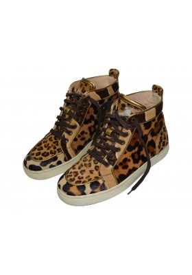 Christian Louboutin Sneakers Leopard mit Ponyfell